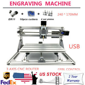 Mini 2417 Cnc Router Milling Engraving Machine 12v For Wood Plastic Acrylic Pcb