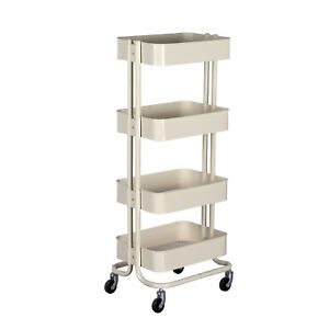 4 shelf Metal Rolling Utility Carts Beige home Office Storage Trolley Organizer