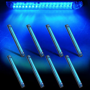 8x Blue 8 Utility Strip 18led Boat Trailer Rv Marker Clearance Courtesy Light