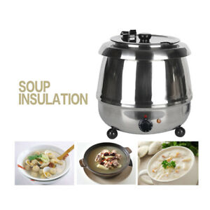 10l Electric Stainless Steel Wet Heat Soup Kettle Warmer Bolier Commercial 400w