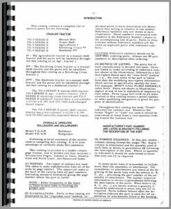 Parts Manual International Harvester Td9 B Series Crawler