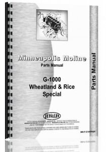 Parts Manual Minneapolis Moline G1000 Wheat Rice Tractor