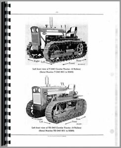 Parts Manual International Harvester T340a Td340 Crawler