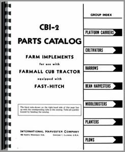 Parts Manual International Farmall Cub Lo boy Tractor Fast Hitch Attachments