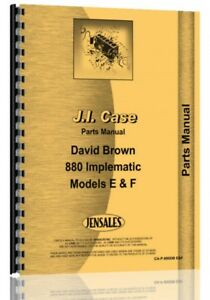 Parts Manual Case David Brown 800f 880e Tractor