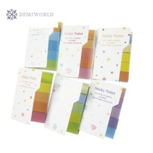 50 Pack lot Rainbow Style Self adhesive Memo Pad Sticky Notes Bookmark School Of