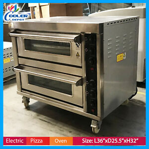 Electric Double Pizza Oven Commercial Bakery Pizzeria Cooker Wings 220v New