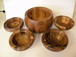 Vintage Dansk Design Jhq 1960s Mid Century Modern 5 Pc Teak Wood Salad Bowl Set
