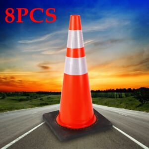 8pcs Pvc Traffic Cone Safety Cone 28 With Two High intensity Reflective Collars