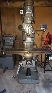 Bridgeport Milling Machine 9 X 48 Table W p Feed And Dro 2 Hp Motor chrome