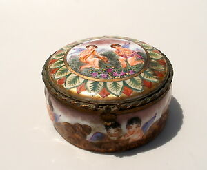 Antique Italian Capodimonte Porcelain Trinket Box Reliefes Angles Brass Hinged