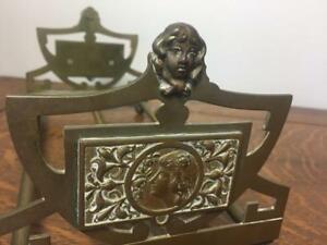 Antique Art Deco Brass Sliding Book Ends Rack Holder Ornate Ladies Cameos Girls