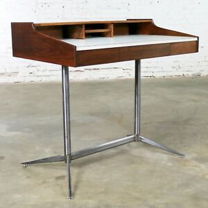 Small Walnut Mid Century Modern Writing Desk In The Style Of George Nelson