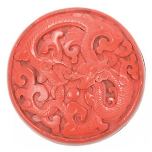 Vintage Chinese Carved Cinnabar Lacquer Round Scholar S Box Dragon Republic Old