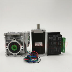 Nema23 18nm Worm Gear Stepper Motor Driver Kit 10 1 Speed Reducer For Cnc Router