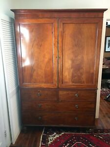 1820 S English Mahogany Linen Press Cupboard Gorgeous Wood