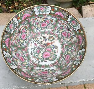Large Antique Chinese Rose Medallion Bowl Figural Scenes 14 X 6 5 High