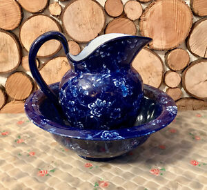 Victoria Ware Ironstone Blue Washbowl And Jug Antique 10 High 12 Diameter