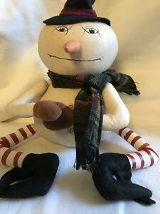 Primitive Christmas Grungy Snowman Art Doll Handmade Large