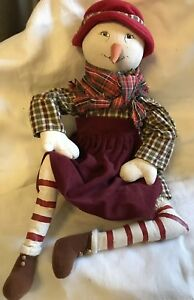 Primitive Christmas Mrs Snowman Art Doll Handmade Large