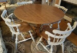 Vintage Ethan Allen 4 Comb Back Chairs Table