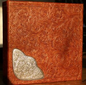 Chestnut Tan Western Cowhide Leather Binder 2 3 Ring Rope Edge Saddle Silver