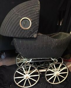 Antique Wicker Baby Carriage Lloyd Products Wood Metal Frame Porthole Windows