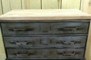 Vintage Industrial 18 X 12 X 22 3 Drawer Tool Chest End Table Cabinet Stand