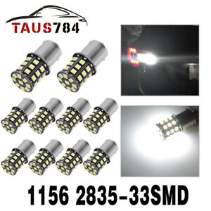 10x Pure White 1156 Ba15s 1141 1003 Rv Camper Trailer Interior 33 Led Light Bulb