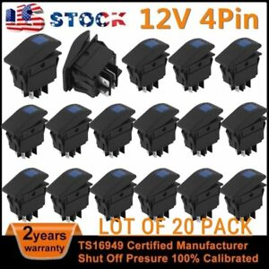 20pack 12v 4pin On off Blue Led Waterproof Marine Boat Car Rocker Toggle Switch