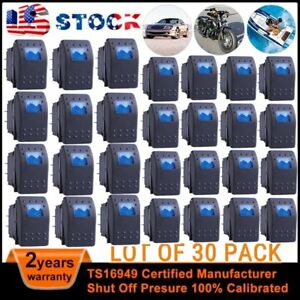 30x Waterproof Marine Boat Car Rocker Switch 12v Spst On off 4pin 4p Led Blue Ut