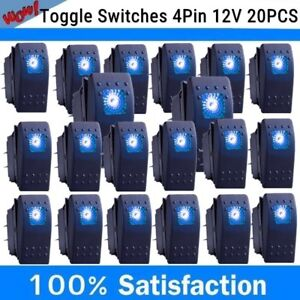 20x Waterproof Marine Boat Car Rocker Switch 12v Spst On off 4pin 4p Blue Led Ut