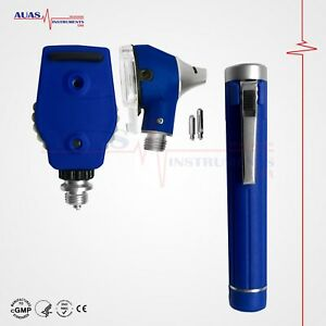 Otoscope Ophthalmoscope blue Mini Fiber Optic Examination Led Ent Diagnostic