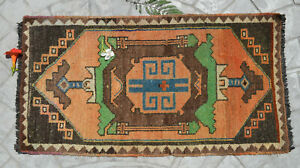 1 9 X 3 3 Distressed Small Area Rug Hand Knotted Turkish Yastik Rug 54x100 Cm