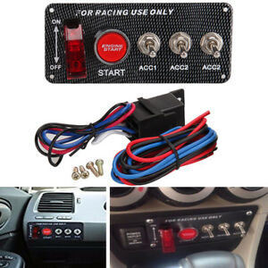 Racing Car Ignition Switch Panel 3 Toggle Engine Start Push Button Led Toggle As