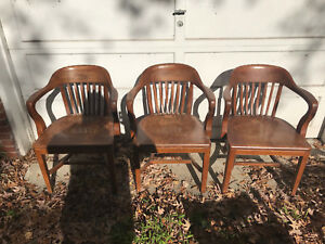 Antique Solid Walnut Bankers Chairs High Point Bending Chair Co