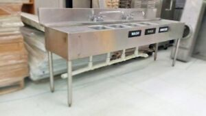 7 Ft Stainless Steel Commercial 4 Bay Sink W 2 Faucets Drainboards On Both Si