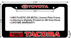 Toyota Trd Tacoma Red Lettering Custom License Plate Frame
