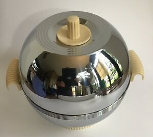 Round Chase Chrome Bakelite Food Warmer With Glass Liner