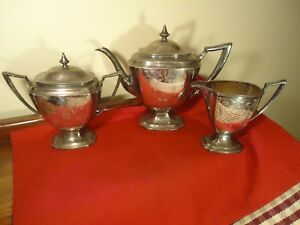 Art Deco C 1900 1940 Pairpoint Sheffield Tea Set Pot Creamer Covered Sugar
