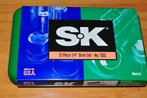 Sk 1322 1 4 Dr 21 Pcs Hex Socket Set Metric 1999 With S k Old Logo Made In Usa