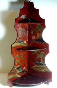 Antique Asian Wood Hand Painted Mother Of Pearl Inlay Foldable Corner Cabinet