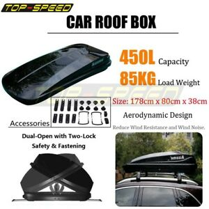 Car Roof Top Rack Carrier Box 450l Dual Side Open Black Storage Cargo Luggage