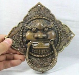 China Chinese Folk Home Copper Fu Foo Dog Lion Head Door Knocker Statue