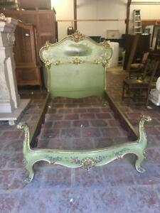 Beautiful Antique Vintage Italian Painted Designer Bed 14ny005