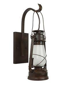 Lantern Wall Sconce Large Coal Miner Style Lamp Electric Rustic Patina Vintage