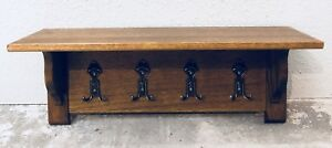 Vintage French Oak Hanging Rack Kitchen Rack Hall Tree Shelf Rack 8 Brass Hooks