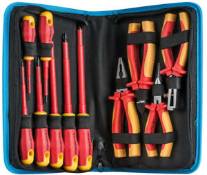 Insulated Tool Kit 11 Piece Tech Professionals Electricians Pliers Screwdrivers