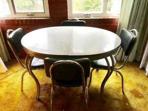 Vintage 1950 S Dinette Dining Room Table Chrome Frame Formica W 4 Chairs