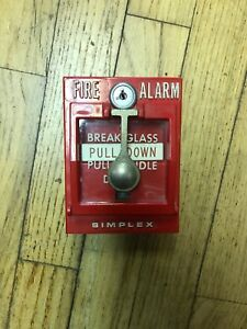 Simplex Manual Pull Station W glass Vintage